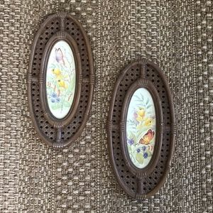 VTG Retro Butterfly Faux Bamboo Set of 2 Wall Art